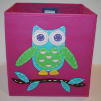 Storage Basket, Kids Storage Bin, Nursery Room Decor, Fuschia, Owl