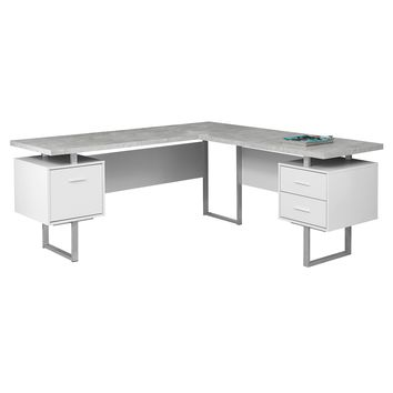 "Computer Desk - 70""L White / Cement-Look Left/Right Face"