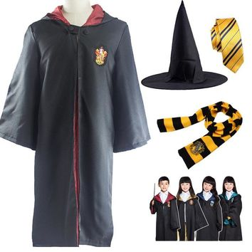 Cool Kid Adult Costume Gryffindor Ravenclaw Hufflepuff Slytherin Clothes Robe Cloak Clothing with Tie Scarf for Harri Potter CosplayAT_93_12
