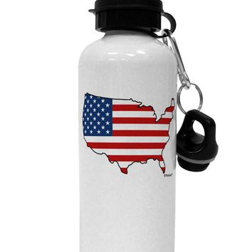 United States Cutout - American Flag Design Aluminum 600ml Water Bottle by TooLoud