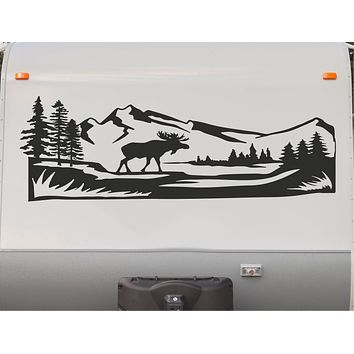 Moose Rocky Mountains Camper Motorhome Decal Scene Trailer RV Stickers