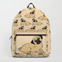 Pug Pattern Backpacks by Artist Abigail
