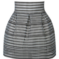 Black Houndstooth Print Mini Skirt