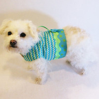 RockinDogs Turquoise and Lime Chevron Dog Harness