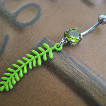 Belly Button Jewelry- Navel Ring Piercing Green Fern Vine Leaf Chartreuse Wasabi Tropical Charm Long Dangle