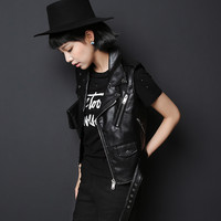 Black Leather Sleeveless Zipper Jacket
