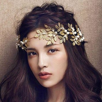CREYD5W Golden metal leaf olive branch hair headband and hairpin