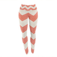"Ann Barnes ""Vintage Coral"" Orange Chevron Yoga Leggings"