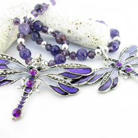 Curtain Tiebacks, Dragonfly Tiebacks, Purple Curtain Tiebacks, Beaded Tiebacks, Shabby Chic Tiebacks