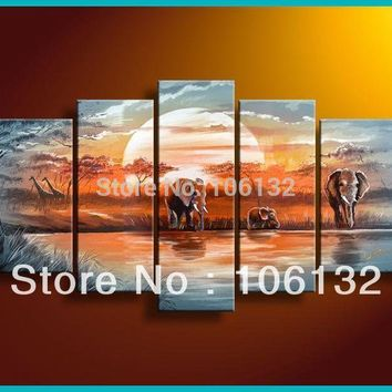 Framed 5 Panel Large African Home Decor Sunset Landscape Oil Painting quadro 5 Panel Wall Art Elephant Pictures A0451