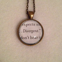 Divergent Inspired Silver and Glass Pendant - Four - Tris - Easter - Spring - Summer - Birthday - Gift - Mother's Day - Teacher - Student