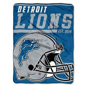 "Licensed Official New NFL Detroit Lions Soft Micro Rasche Large Throw Blanket 46"" X 60"""