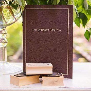 """""""Our Journey Begins"""" Travel Inspired Alternative Guest Book Kit Chocolate Brown (Pack of 1)"""
