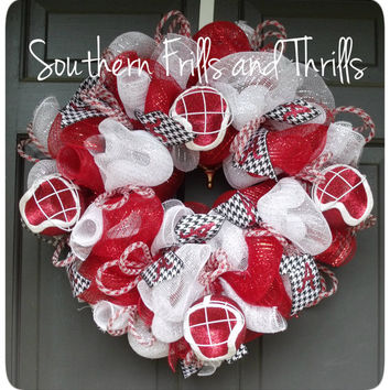 University of Alabama Deco Mesh Wreath with Football Helmets