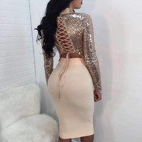Two-Piece Set Sequins Bandage Cross-Back Women, Crop Tops Skirts