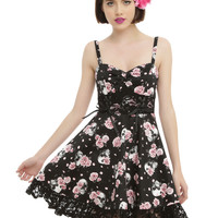 Black & Pink Skull Rose Lace-Up Dress