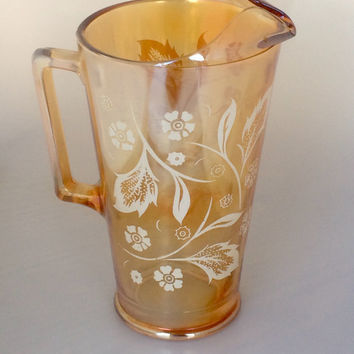 Jeanette Marigold Carnival Glass Pitcher - Orange Carnival Glass -  Embossed White Flowers- Iridescent