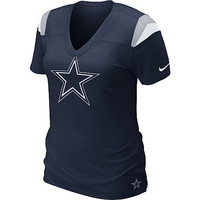 Women's Nike Dallas Cowboys Fashion V-Neck Navy T-Shirt