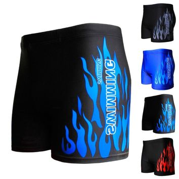 Flame Pattern Men Male Swimming Swimwear Boxer Shorts Bathing Suit Trunks Swim Black Blue Beach Wear Briefs Swimsuit Beachwear