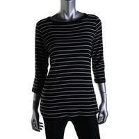 Style & Co. Womens Knit Striped Pullover Top