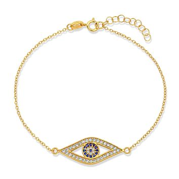 Blue Evil Eye Charm Chain Bracelet 14K Gold Plated 925 Sterling Silver