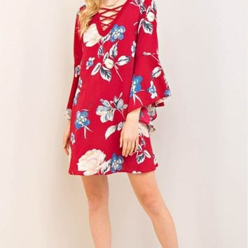 Floral Print Strappy Detail Trim Front Shift Dress