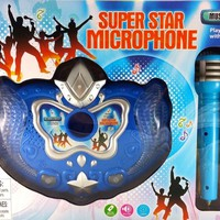 Party Favors Boys Super Star Blue Microphone Toy with Music and Sound