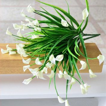 DKF4S 25 heads/bouquet mini artificial calla leaf silk fake flower lily plastic Aquatic plants home decoration