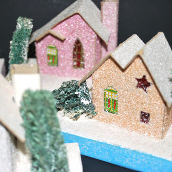 House Putz Christmas Village Cardboard from Japan with Mica Windows