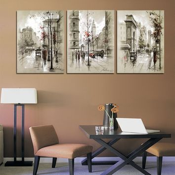 Unframed Home Decor Canvas Painting Abstract City Street Landscape Decorative Paintings Modern Wall Pictures Panel Wall Art