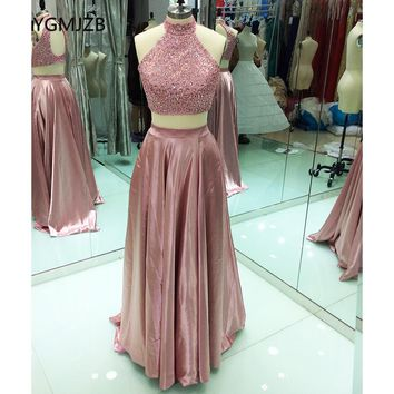 Backless Two Piece Prom Dress 2017 High Neck Stunning Beaded Crystal Floor Length African Blush Long Formal Evening Party Dress