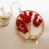 Tree of Life Cherry blossom tree of life coral chips silver tree of life necklace pendant
