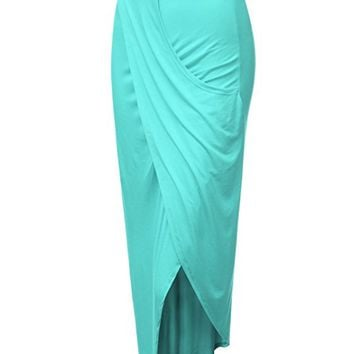 Women's Wrap Front Slim Fit Midi Skirt with Asymmetrical Hem (S-3XL)