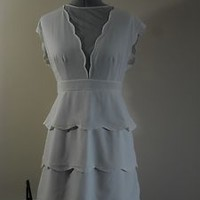 Urban Outfitters Cooperative Scallop Peplum Dress White Size 12