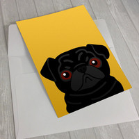 Pug Greeting Card - Black Pug Greeting Card - Card for pug lovers - dog lover card - notecard for dog lovers - Pug lover greeting card