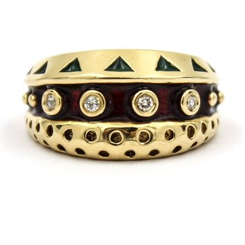 Vintage Red and Green Enamel 14k Yellow Gold Ring with Diamonds, Size 6.5
