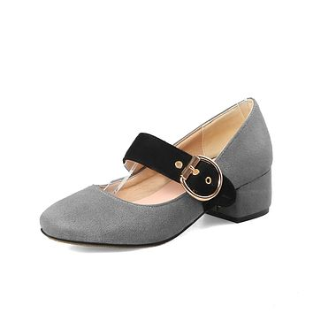 Square-headed Thick Heels Mary Janes Suede Buckle Women Chunky Pumps Shoes