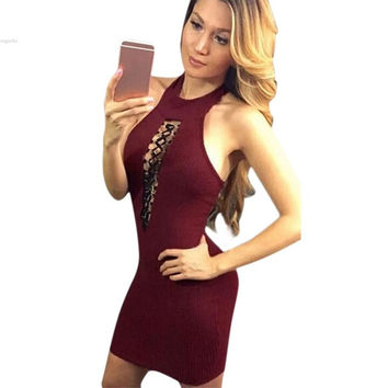 New Sexy Wome's Sleeveless Backless lace up women dress Sexy evening party midi bodycon dress new year vestidos de fiesta S-XL