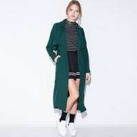 Solid Blackish Green Turn Down Collar Trench Coat Slim Sash Long Coat Windbreaker Streetwear Autumn Outwears