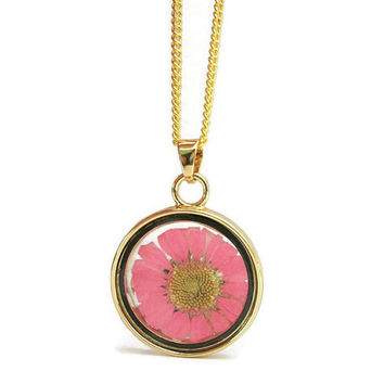 Pink Dried Flower Floating Locket Gold Tone Pendant Necklace- 18 or 20 in Petite Curb Chain or 23 inch Ball Chain