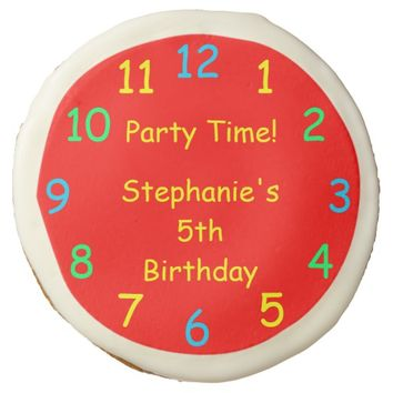 Party Time Kids 5th Birthday Party Red Clock Sugar Cookie