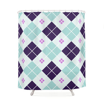 3 Color Options Chic Scottish Pattern Shower Curtains, Bathroom Shower Curtain, Minimal Pattern Design, Home Decor, Scottish Pattern