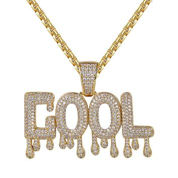 14k Gold Finish Iced Out Cool Drip Letter Rapper Pendant Chain