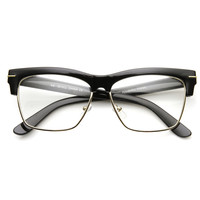 Retro 1960's Fashion Half Frame Clear Lens Glasses 9398