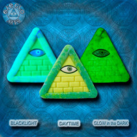 EyeGloArts Aqua and Yellow GLOW in the dark jewelry Illuminati all seeing eye pyramid pendant clubwear blacklight Psytrance rave candy