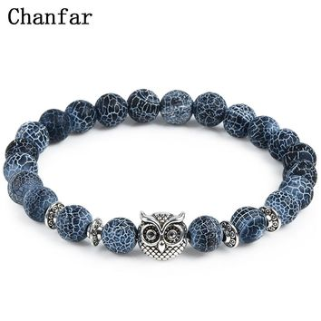 2017 Leopard Tiger Eye Lion Head Bracelet Owl Buddha beads Bracelets Bangles Charm Natural Stone Bracelet yoga Jewelry Men Women