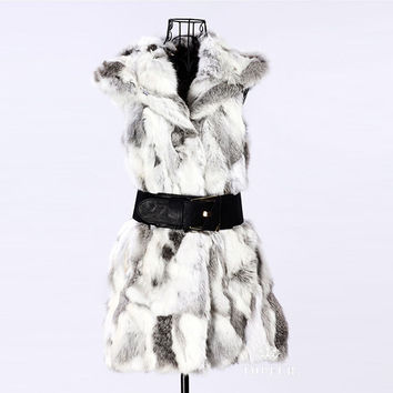 Women Warm Hooded Gilet Long Slim Vest Faux Rabbit Fur Waistcoat Jacket Coat  SM6