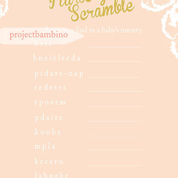 Word Scramble Nursery Scramble Baby Shower Game Pink and Gold Baby Shower Printable Instant Download Digital