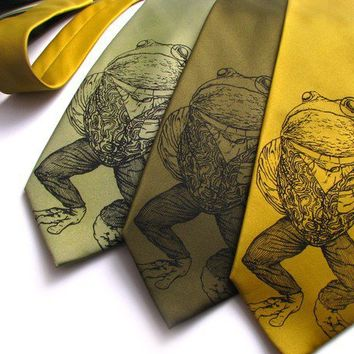 Pretentious Frog Mens Necktie  Screen Printed by ScatterbrainTies