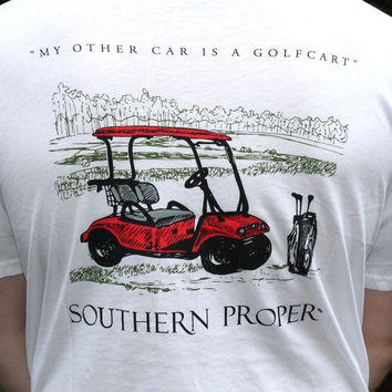 My Other Car is a Golf Cart Tee in White by Southern Proper